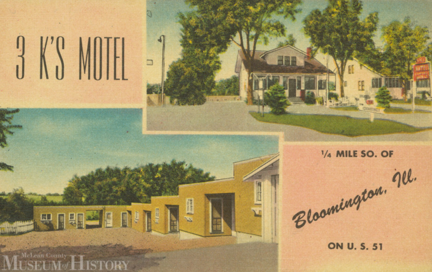 3K's Motel was located 1/4 mile south of Rt. 66 on Rt. 51. It was owned and operated by members of the King family.  C. 1950