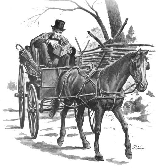 Lincoln traveling in his bucketboard buggy C. 1845. Illustration by Lloyd Ostendorf. Courtesy of The Lincoln Picture Studio