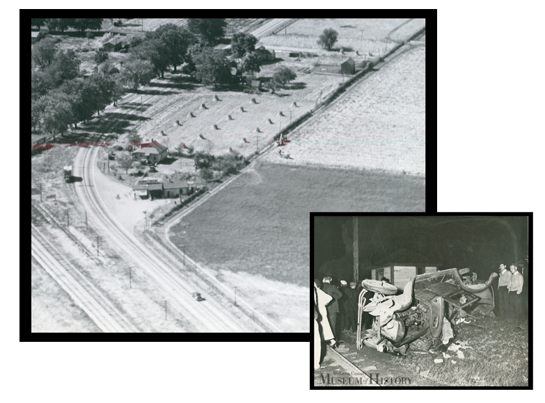"""Frank Bill Photo, aerial image, Pantagraph, C. 1935 (bird's eye); """"Automobiles of the period were not safe"""". Daily Pantagraph C. 1935 (auto accident)"""