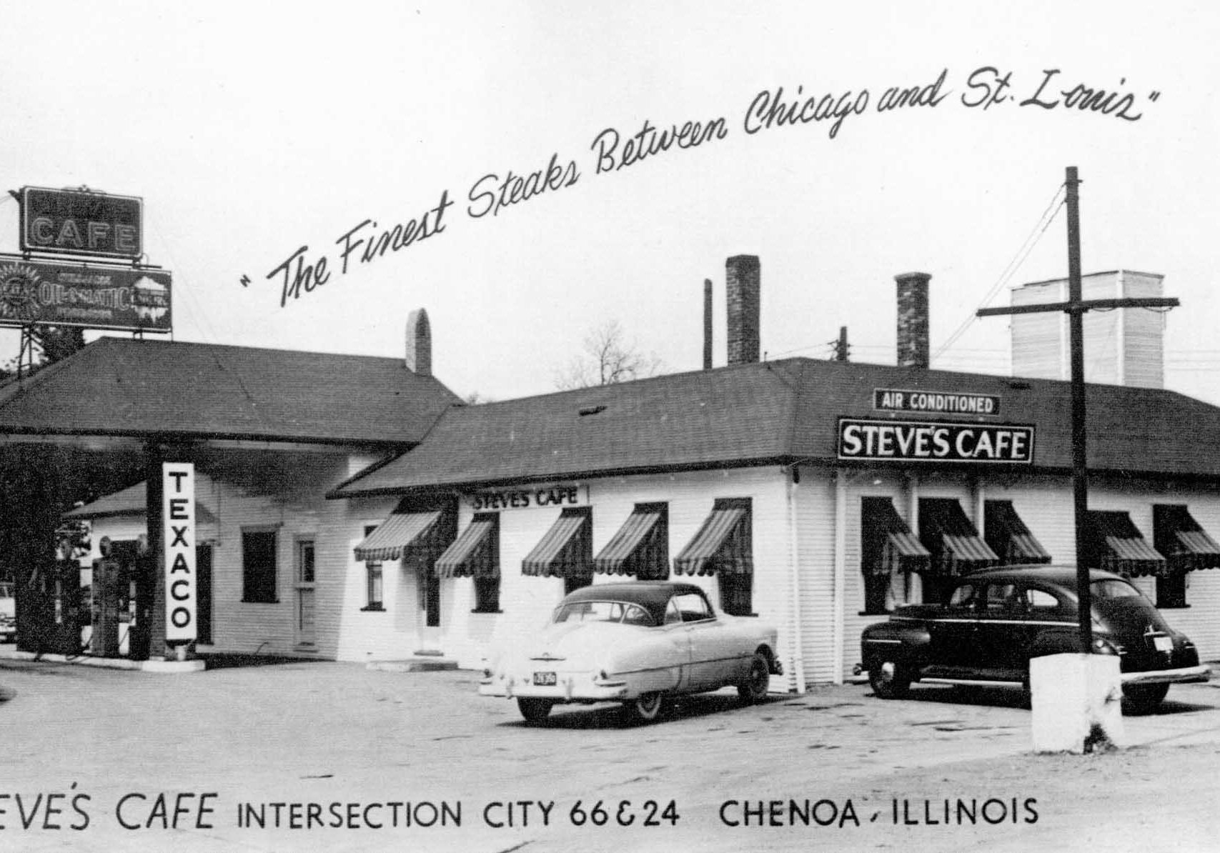 Steve's Cafe was at the intersection of Rts. 66 and 24, C. 1953.
